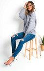 Indie Distressed Western Buckle Jeans Thumbnail