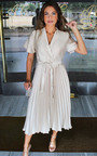 Ingrid Satin Pleat Midi Dress Thumbnail