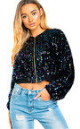 Iris Sequin Embellished Bomber Jacket Thumbnail