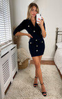 Isabel Structured Bodycon Dress with Button Detail Thumbnail