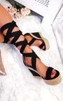 Izzie Faux Suede Lace Up Wedges Thumbnail