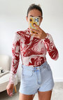 Jamilla High Neck Long Sleeve Printed Bodysuit Thumbnail