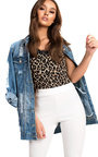 Jasmin Distressed Oversized Denim Jacket  Thumbnail