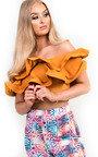Jasmine Frill Bardot Crop Top Thumbnail