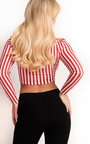 Jayla Stripe Ruched Bardot Top Thumbnail