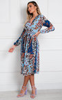 Jemma Pleated Multi Print Midi Dress Thumbnail
