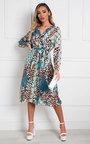 Jemma Pleated Multi Print Midi Dress Thumbnail