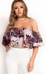 Jeni Off Shoulder Floral Frill Crop Top Thumbnail