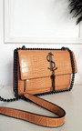 Jenny Croc Print Bag with Metal Chain Detail Thumbnail