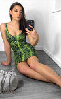 Jess Snake Print Mini Dress Thumbnail