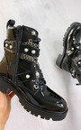 Joanna Chain & Pearl Lace Up Boots Thumbnail