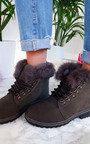 Jody Faux Fur Lace Up Boots Thumbnail