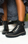 JoJo Chain Detail Lace Up Ankle Boots Thumbnail