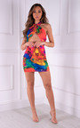 Jorga Wrap Front Halterneck Printed Mini Dress Thumbnail