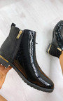 Jules Faux Leather Patent Croc Print Ankle Boots Thumbnail