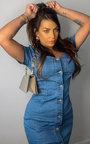 Kalis Button Up Denim Dress Thumbnail