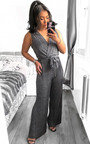 Kally Sleeveless Tie Slinky Jumpsuit Thumbnail
