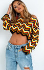 Kara Knitted Cropped Zig Zag Jumper  Thumbnail