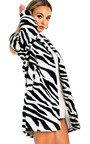 Karen Faux Fur Zebra Coat Thumbnail