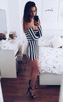 Kari Bardot Stripe Mini Dress Thumbnail