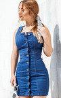 Karoline Button Up Denim Mini Dress Thumbnail