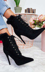 Karrah Faux Suede Corset Heeled Boots Thumbnail