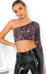 Kat One Shoulder Leopard Crop Top Thumbnail