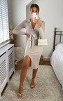 Katerina Tie Waist V Neck Long Sleeve Midi Dress Thumbnail