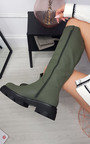 Katie Faux Leather Knee High Chunky Boot Thumbnail