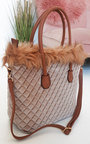 Katie Quilted Faux Fur Handbag Thumbnail