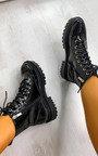 Kaya Faux Leather Patent Biker Boots Thumbnail