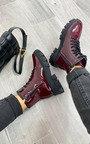 Kayla Faux Leather Patent Biker Boots Thumbnail