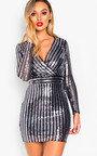 Kayla Sequin Bodycon Striped Dress  Thumbnail