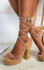 Keira Cork Lace Up Platform Heels  Thumbnail