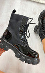 Keira Faux Leather Sock Style Biker Boots Thumbnail