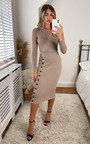 Keira Wrap Dress With Button Down Side Detail Thumbnail