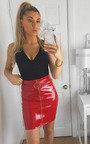 Kelli Wet Look Ring Zipped Skirt  Thumbnail