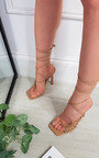 Kelly Faux Leather Lace Up High Heels Thumbnail