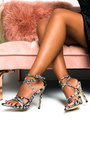 Kelsey Printed Strappy Pointed High Heels  Thumbnail