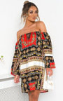 Kendra Off Shoulder Printed Dress Thumbnail