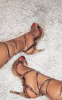 Kennedy Lace Up Peep Toe Heels  Thumbnail