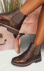 Kensie Faux Leather Brogue Chelsea Boots Thumbnail