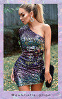 Keyla One Shoulder Sequin Mini Dress Thumbnail