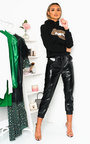 Kiki Faux Leather Shiny Casual Joggers Thumbnail
