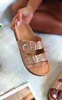 Kimmi Diamante Embellished Buckle Sliders Thumbnail