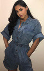 Kirstee Oversized Denim Playsuit  Thumbnail