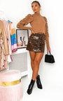Kizzy Faux Leather Leopard Mini Skirt  Thumbnail