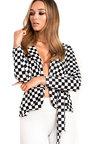Klarise Checked Belted Tie Blazer  Thumbnail
