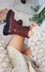 Koko Lace Up Zipped Chunky Mid Calf Boots Thumbnail