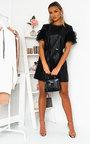 Kolina Faux Leather Mesh Sleeve Dress Thumbnail